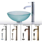 Kraus C-GV-101FR-12mm-1007CH Frosted Glass Vessel Sink & Ramus Faucet Chrome