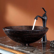 Kraus C-GV-580-12mm-15000ORB Copper Illusion Glass Vessel Sink & Ventus Faucet Oil Rubbed Bronze