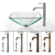 Kraus C-GVS-901-19mm-1007CH Clear Aquamarine Glass Vessel Sink & Ramus Faucet Chrome