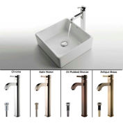 Kraus C-KCV-120-1007SN White Square Ceramic Sink & Ramus Faucet Satin Nickel