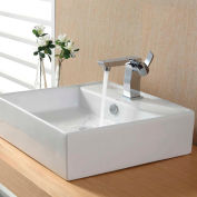 Kraus C-KCV-150-14601CH White Square Ceramic Sink & Sonus Basin Faucet Chrome