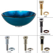 Kraus GV-204-SN Irruption Blue Glass Vessel Sink W/PU-MR Satin Nickel