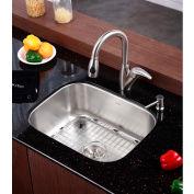 "Kraus KBU12 23"" Undermount Single Bowl 16 Ga. Stainless Steel Kitchen Sink"
