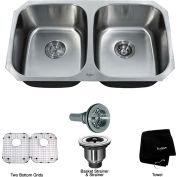 """Kraus KBU22 32"""" Undermount 50/50 Double Bowl 16 Ga. Stainless Steel Kitchen Sink"""