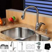 "Kraus KBU23-KPF2120-SD20 32"" Undermount Double Bowl SS Kitchen Sink W/Faucet & Soap Dispenser"
