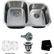 "Kraus KBU24 32"" Undermount 60/40 Double Bowl 16 Ga. Stainless Steel Kitchen Sink"