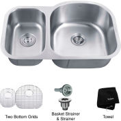 "Kraus KBU25 32"" Undermount 60/40 Double Bowl 16 Ga. Stainless Steel Kitchen Sink"
