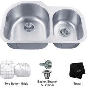 """Kraus KBU26 32"""" Undermount 60/40 Double Bowl 16 Ga. Stainless Steel Kitchen Sink"""