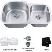 """Kraus KBU27 35"""" Undermount 60/40 Double Bowl 16 Ga. Stainless Steel Kitchen Sink"""