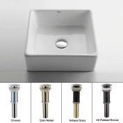 Kraus KCV-120-CH White Square Ceramic Sink W/Pop Up Drain Chrome