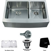 "Kraus KHF203-33 33"" Farmhouse Apron 60/40 Double Bowl 16 Ga. Stainless Steel Kitchen Sink"