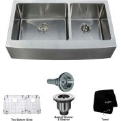 "Kraus KHF203-36 36"" Farmhouse Apron 60/40 Double Bowl 16 Ga. Stainless Steel Kitchen Sink"