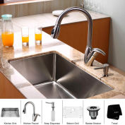 "Kraus KHU100-30-KPF2120-SD20 30"" Undermount Single Bowl SS Kitchen Sink W/Faucet & Soap Dispenser"