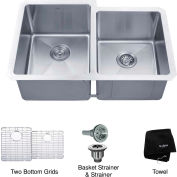 "Kraus KHU105-32 32"" Undermount 50/50 Double Bowl 16 Ga. Stainless Steel Kitchen Sink"