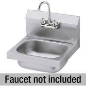 """Krowne HS-2-LF - 16"""" Wide Hand Sink (LESS FAUCET) 4"""" OC Faucet Holes"""