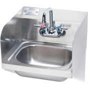 """Krowne® HS-23 16"""" Wide Hand Sink With Side Support Brackets And Side Splashes, Wrist Handles"""
