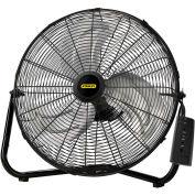 """Lasko 655650 Stanley® 20"""" High Velocity Floor or Wall-Mount Fan with Remote, 3-Speed, Black"""