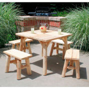 Lakeland Mills Cedar Log Parquet Table, Two Pair End Benches, Natural