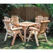 Lakeland Mills Parquet Table W/ 4 Chairs, Cedar