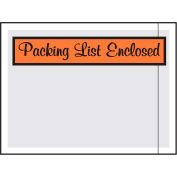 "Panel Face Envelopes, ""Packing List Enclosed"" Print, 4-1/2""L x 6""W, Orange, 1000/Pack"