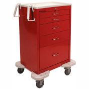 Lakeside® C-530-K-1G Classic 5-Drawer Medical Procedure Cart, Gray, Key Lock