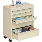 Lakeside® BV05 Classic 5-Drawer Medical Bedside Cart, Key Lock, Beige