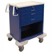 Lakeside® C-324-P2K-1B Classic 3 Drawer Medical Anesthesia Cart, Blue, Key Lock