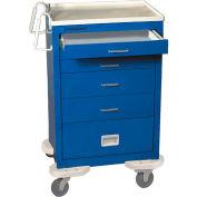 Lakeside® C-530-P2K-1B Classic 5 Drawer Medical Anesthesia Cart Blue, Key Lock