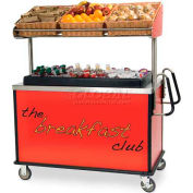 "Lakeside Breakfast Cart With Ergo Handles, Red, Stainless Steel, 28-1/2""W x 54-3/4""L x 67""H - 668"