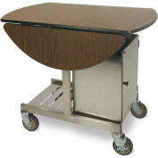 "Geneva Tri-Fold Leaf Room Service Cart/Table, Oval, 36""W x 31""H x 43""L - 74405"