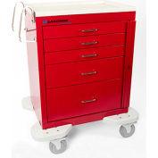 Lakeside® C-524-B-1R Classic 5 Drawer Medical Emergency Cart, Red, Breakaway Lock