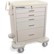 Lakeside® C-524-K-1G Classic 5-Drawer Medical Anesthesia Cart, Gray, Key Lock