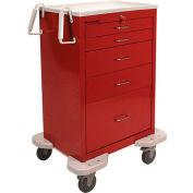 Lakeside® C-530-K-1R Classic 5 Drawer Medical Emergency Cart, Red, Key Lock