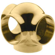 """Lavi Industries, Ball Tee, Side Outlet, for 1.5"""" Tubing, Polished Brass"""