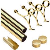 "Lavi Industries, 10' Foot Rail Kit, 2"" Tube, Polished Brass"