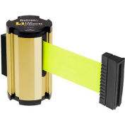 Lavi Industries Gold Anodized Aisle Closure Wall Mount, 7'L Florescent Yellow Retractable Belt