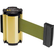 Lavi Industries Gold Anodized Aisle Closure Wall Mount, 7'L Olive Green Retractable Belt Barrier