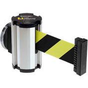 Lavi Industries Chrome Magnetic Wall Mount Unit, 7'L Safety Black/Yellow Retractable Belt