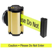 "Lavi Industries Gold Anodized Magnetic Wall Mount Unit, 7'L Yellow, ""Caution - Do Not Enter"" Belt"