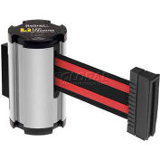 Lavi Industries Satin Aisle Closure Wall Mount, 7'L Black/Red Retractable Belt Barrier