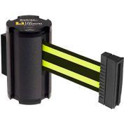 Lavi Industries Black Aisle Closure Wall Mount, 7'L Black/Neon Yellow Retractable Belt Barrier