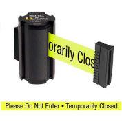 "Lavi Industries Black Aisle Closure Wall Mount, 7'L Yellow, ""Please Do Not Enter"" Retractable Belt"