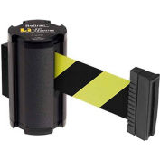 Lavi Industries Black Aisle Closure Wall Mount, 7'L Safety Black/Yellow Retractable Belt Barrier