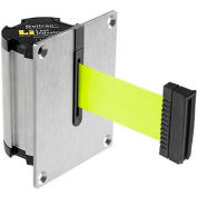 Lavi Industries Beltrac Concealed Mount Wall Unit, 7'L Fluorescent Yellow Retractable Belt