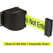 "Lavi Industries Wrinkle Black Wall Mount, 18'L Yellow, ""Please Do Not Enter"" Retractable Belt"