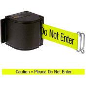 """Lavi Industries Black Quick Mount Barricade, 18'L """"Caution - Do Not Enter"""" Belt, Modified Mount"""