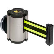 Lavi Industries Satin Magnetic Wall Mount Unit, 13'L Black/Neon Yellow Retractable Belt