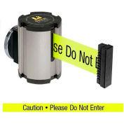 "Lavi Industries Satin Magnetic Wall Mount Unit, 13'L Yellow, ""Caution - Do Not Enter"" Belt"
