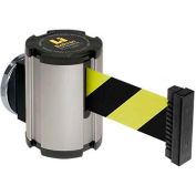Lavi Industries Satin Magnetic Wall Mount Unit, 13'L Safety Black/Yellow Retractable Belt