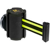 Lavi Industries Wrinkle Black Magnetic Wall Mount Unit, 13'L Black/Neon Yellow Retractable Belt